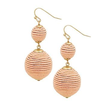Pink 2 Ball Thread Pom Pom Earrings 348858