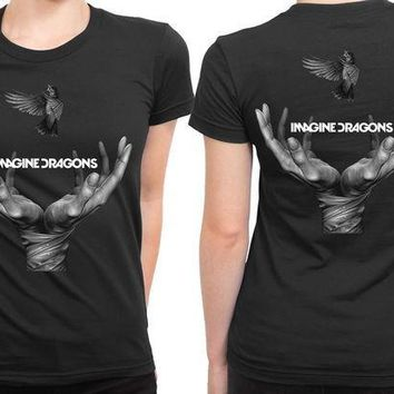 CREYH9S Imagine Dragons Cover Bird Grayscale 2 Sided Womens T Shirt