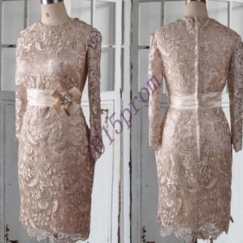 Vintage Court Style Brown Knee Length Lace Bridesmaid Dresses,Unique Full Sleeves Mother Of The bridesmaid Dresses,Formal Party Grown