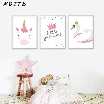 NDITB Baby Nursery Wall Art Canvas Poster Print Unicorn Swan Cartoon Minimalist Painting Picture Nordic Girls Bedroom Decoration