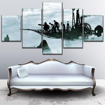 Modern Wall Art Canvas Print Painting 5 Panel Airplane Fog  Sci Fi Steampunk And Abstract People Poster Home Decor Framework
