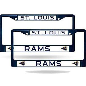 St Louis Rams Blue Painted Chrome Metal (2) License Plate Frame Set