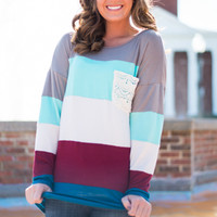 Crochet Pocket Top, Ivory/Mint/Teal