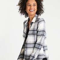 AE Ahhmazingly Soft Plaid Cabin Shirt, White