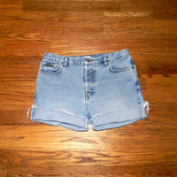 Vintage Denim Cut Offs - 90s Light Stone Wash Jean Shorts - High Waisted/Frayed/Distressed/Rolled Up Shorts by Calvin Klein - Size Misses 14