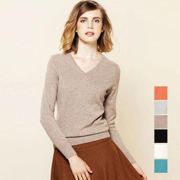 100% CASHMERE women solid PULLOVERS sueter Luxury basic wool sweater top tunic jumper pull femme Fall Winter Brand new