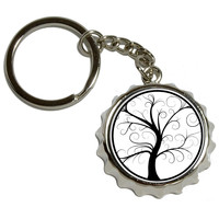 Tree of Life Pop Cap Bottle Opener Keychain