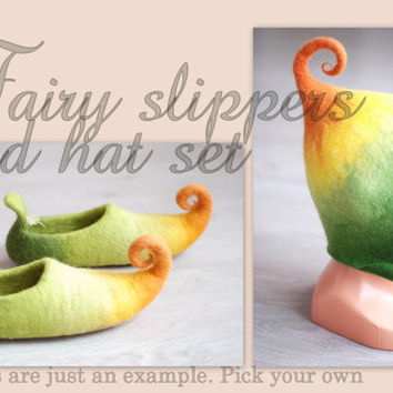 Gnome/Pixie/Fairy/Elf hat and slippers set, adult sizes HANDMADE TO ORDER