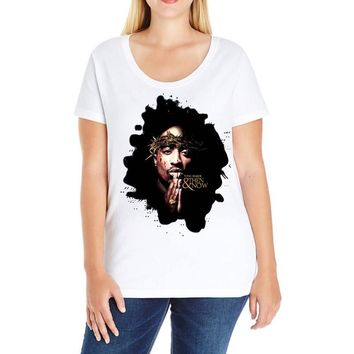 tupac shakur (2) Ladies Curvy T-Shirt