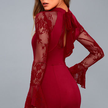 It's Now or Never Wine Red Lace Bodycon Dress