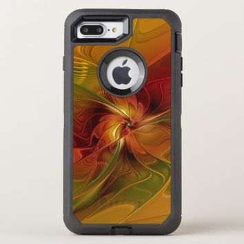 Abstract Red Orange Brown Green Fractal Art Flower OtterBox Defender iPhone 8 Plus/7 Plus Case