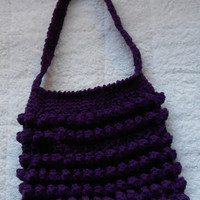 Handmade PURPLE Crochet Handbag purse deep violet popcorn