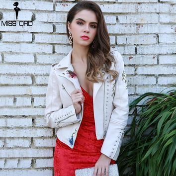 Flower Embroidery Outwear Coats Women Casual Jacket  Long Sleeve Beads  Leather  Coat