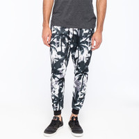 Elwood Abstract Palms Mens Jogger Pants Black/White  In Sizes