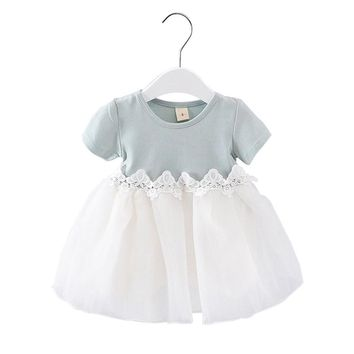 Summer Baby Kids Clothes 1 Year Birthday Dress Lace Infant Baptism Vestido Infantil Bowknot Princess Wedding Dress