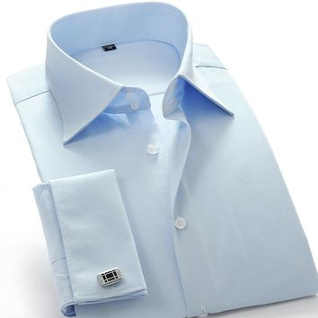 Men's Blue French Cuff Twill Dress Shirt Regular-Fit  (Cuff links Included)