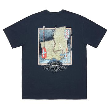 River Route Collection - Louisiana and Mississippi Tee in Navy by Southern Marsh