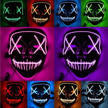 Halloween LED Light Mask Up Funny Mask from The Purge Election Year Great for Festival Cosplay Halloween Costume Drop Shipping