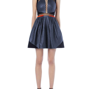 Blue Lace Up Sleeveless Mini Dress with Mesh Accent