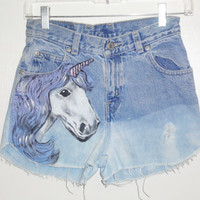 Amazing studded  hombre unicorn vintage high waist shorts
