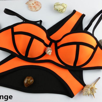 Swimwears Women Fashion Neoprene Bikinis Woman New Summer 2014 Sexy Swimsuit Bath Suit Push Up Bikini set Bathsuit TA02
