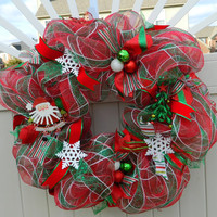 Red Green Deco Mesh Christmas Wreath- Santa Claus Christmas Tree Wreath - Holiday Wreath - Xmas Wreath - Christmas Decor