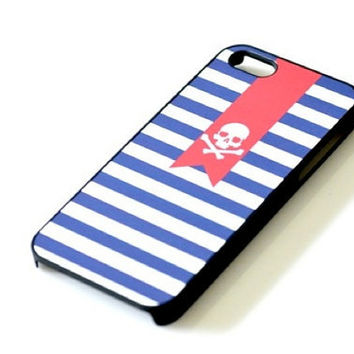 Pirate Skull Flag Navy Stripes Striped iPhone 4 4S 5 Case