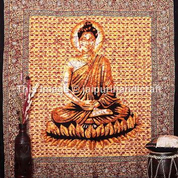 Meditating Buddha Wall Hanging, India Traditional Decorator Art Cotton Tapestry, Meditation Lord Buddha Tapestry, Hippie Tapestry, Beach