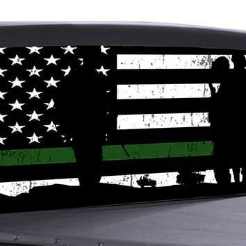Military Thin Green Line Flag Universal Truck Rear Window 50/50 Perforated Vinyl