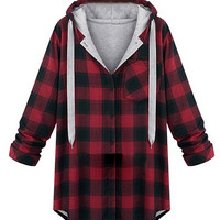 Red Plaid Large Hoodie Shirt Warm Coat - Choies.com