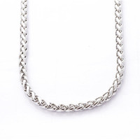 2014 new fashion silver 316L stainless steel wheat link chain necklace for men women 9mm SP0283