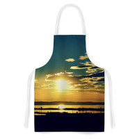 """Robin Dickinson """"Conquer Your Wold"""" Gold Blue Artistic Apron"""