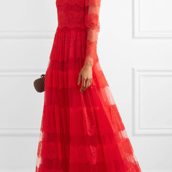 Valentino - Paneled Chantilly lace and tulle gown