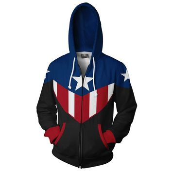 2018 New Captain America Zip Hooded Hot Long Sleeve Zipper Men superman Masked Hoodie Cosplay Sweatshirt Jacket