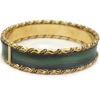 Vintage Green and Gold Tone Bangle Bracelet - 2 5/8 inch diameter 5/8 inch wide - Green Black Brown Bracelet