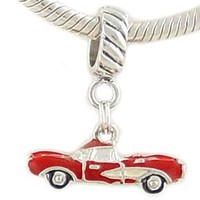 Sterling Enamel Red Vintage Convertible Sports Car Charm for European Bead Bracelet: Jewelry: Amazon.com