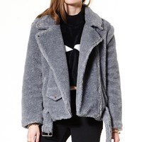 Teddy Boy Boucle Biker Jacket - Jackets&Coats - Jackets/Coats - Clothing Discover the latest fashion trends online at storets.com