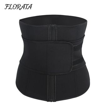 FLORATA Women & Men Abdominal Belt High Zipper Latex Waist Cincher Corset Slimming Underbust Body Sweat Waist Trainer