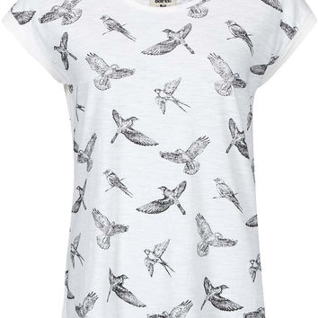 Bellfield Gateshead Round Neck Bird Print T-Shirt