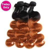 Ombre Brazilian Hair Body Wave Bundles 1b 30 Two Tone Human Hair Weave Bundles Non Remy Hair Can Buy 3 or 4 Pcs