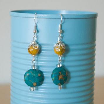 Handmade Silver Plated Hypo-Allergenic Dangle Bead Earrings Sun Earth Yellow Green Turquoise Hippie