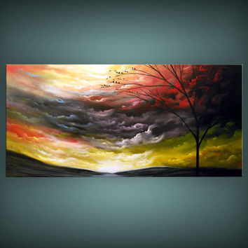 art abstract tree painting landscape painting bird rainbow cloud fantasy large HUGE original 48 x 24 Mattsart