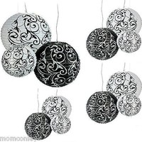 18 Ex LARGE Paper LANTERNS Black White Damask WEDDING Hanging Party Decorations