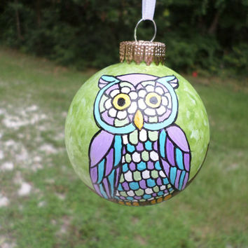 Hand Painted Glass Ornament with retro mod Owl  orn38