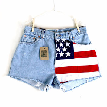 Waist 315 American Flag Vintage Levi Cutoff Shorts by thedaisies