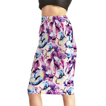 Europe New Women Sexy High Waist Midi Skirts Tennis Bowling Skirts Slim Hip Purple Flowers Elastic S-4XL Female Party Apparel