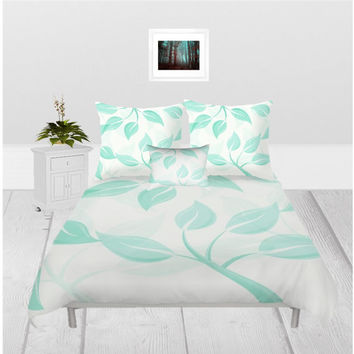 Duvet Cover - 3 different sizes, Without Insert, Bedroom, Home decor, Mint, Leaves, Floral, Spring, With or Without Shams, Green, Nature