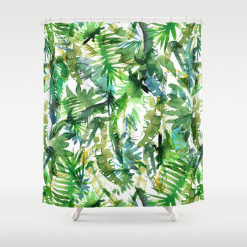 VIBE of the Jungle  {A-green} Shower Curtain by Schatzi Brown