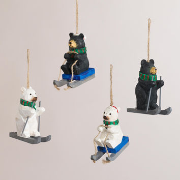 Wood Bear Ornaments, Set of 4 - World Market