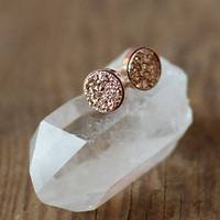 Rose Gold Druzy Stud Earrings in Rose Gold Vermeil Setting